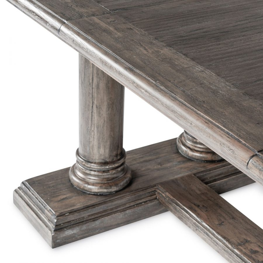 European Double Pillar Extension Dining Table in Driftwood