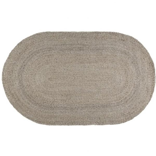 Olly Oval Jute Silver Rug