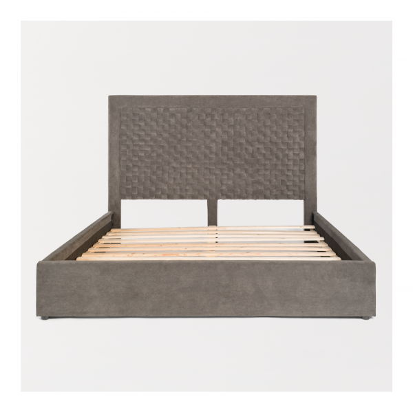 Woven Grey Upholstered Bed
