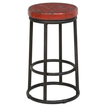 Reclaimed Stool in Red - SB