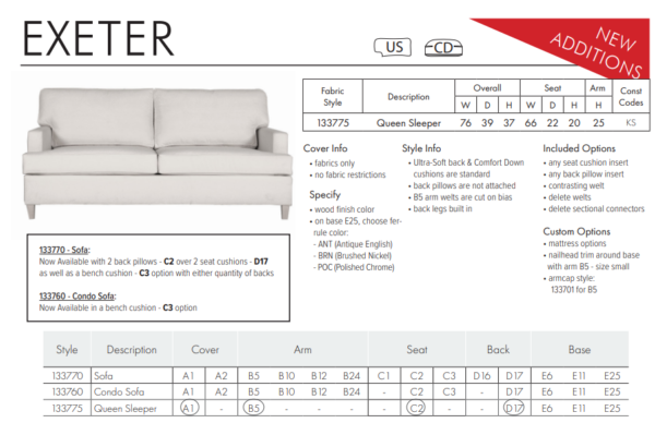Exeter Sofa Catalog Additions
