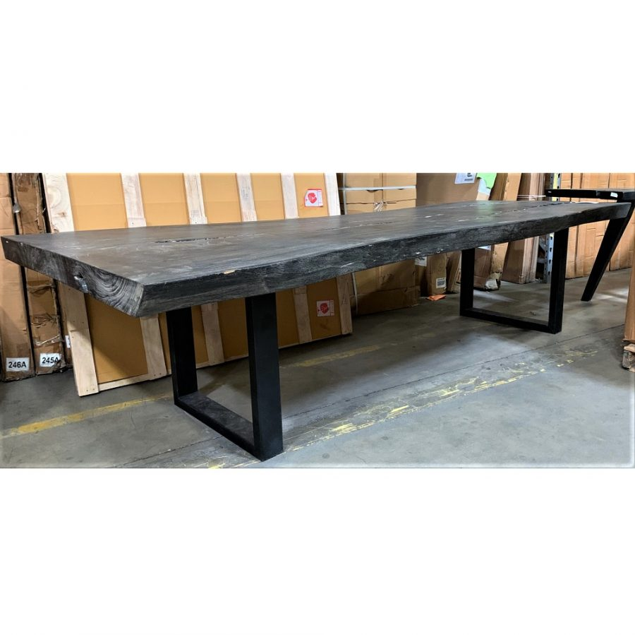 "Live Edge Dining Table 120"" Black"